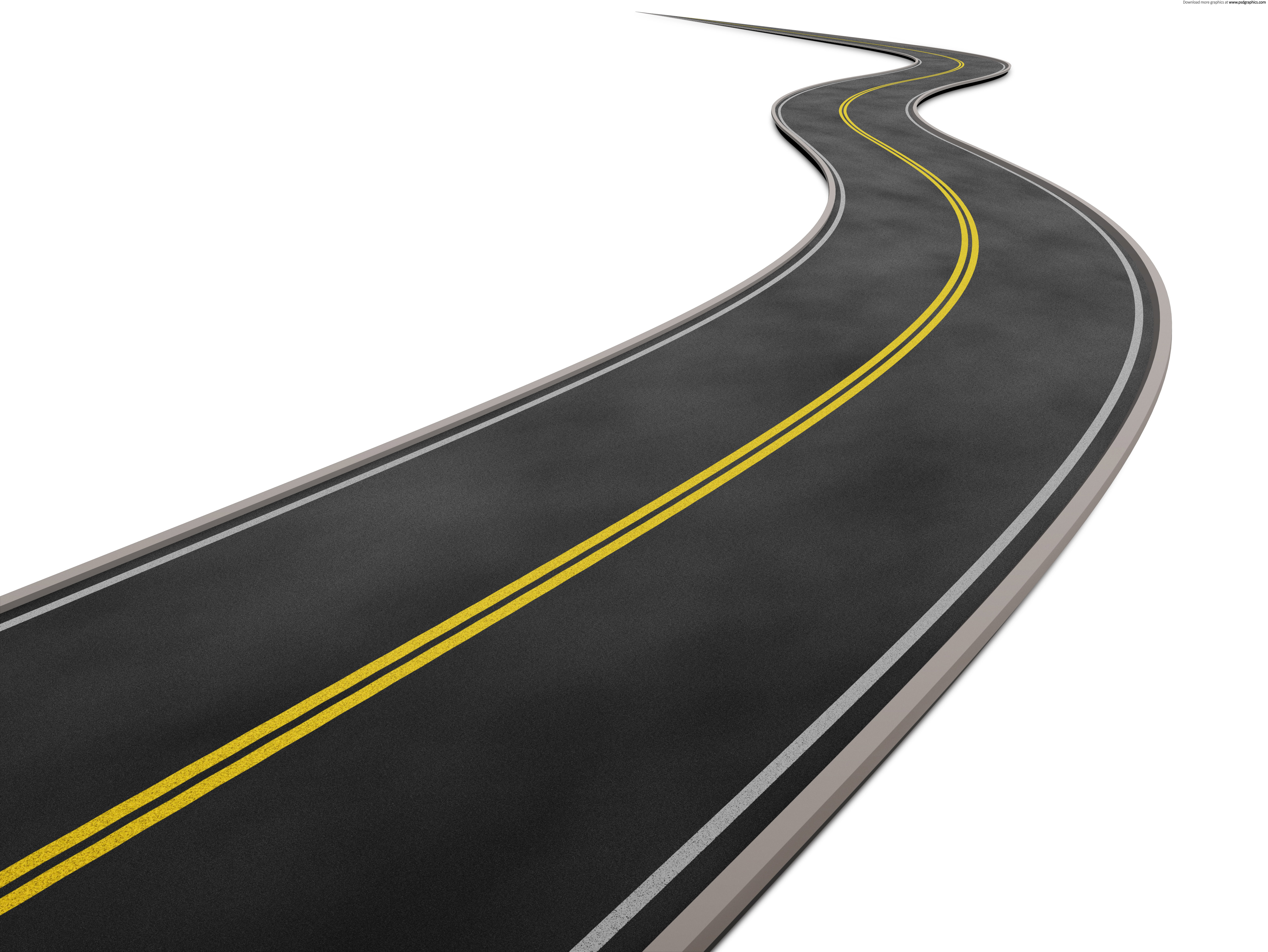 Curved road on white background